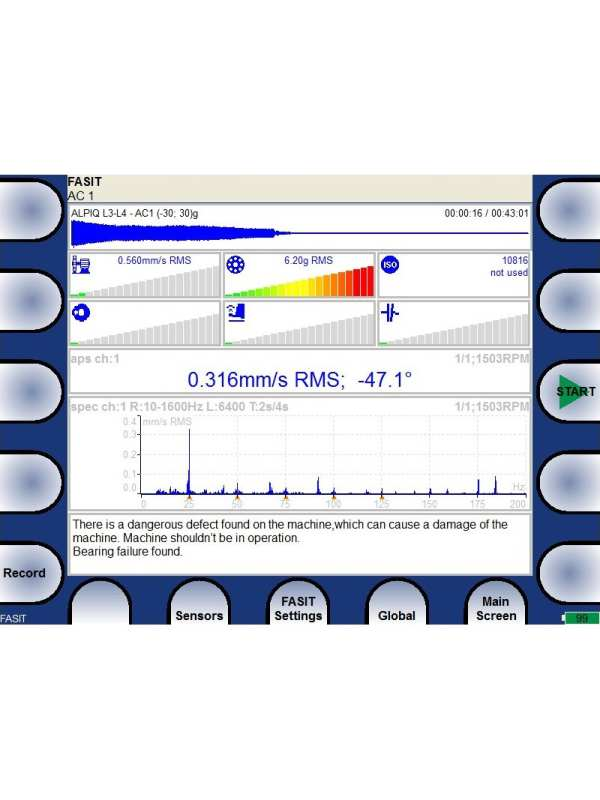 Vibration Analyser screen showing the Fault Source and Identification Tool (FASIT)